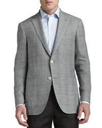 Ermenegildo Zegna Houndstooth Plaid Contrast Pane Sport Coat Light Green Blue