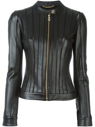 Versace Collection Fitted Leather Jacket Black