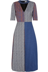 Roksanda Ilincic Layne Herringbone Tweed Midi Dress Indigo