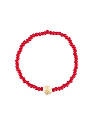 Luis Morais 14Kt Gold Large Star Mantra Charm Bracelet Red