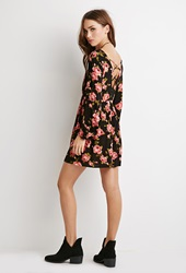 Forever 21 Rose Print Babydoll Dress Black Pink