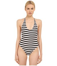 Proenza Schouler Strappy Crossback Maillot One Piece Black White