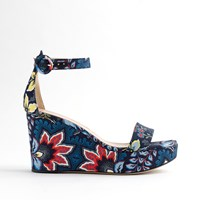 J.Crew Batik Floral Wedges Navy Multi
