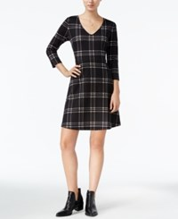 Maison Jules Windowpane Fit And Flare Dress Only At Macy's Deep Black Combo