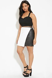 Forever 21 Plus Size Faux Leather Skirt Black White