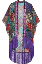 Anna Sui Bird Of Paradise Fringed Printed Silk Chiffon Kimono Purple