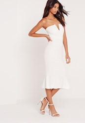 Missguided V Plunge Fishtail Scuba Midi Dress White White