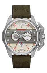Men's Diesel 'Ironside' Chronograph Leather And Canvas Strap Watch 55Mm Green Off White