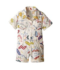 Stella Mccartney James Zigzag Print Romper Infant White Men's Jumpsuit And Rompers One Piece