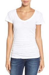 Women's Caslon Shirred V Neck Tee White