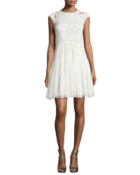 Rebecca Taylor Lace And Nailhead Detailed Cap Sleeve Dress