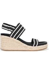 Dkny Lucy Striped Canvas Wedge Sandals Black