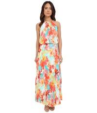 Christin Michaels Milan Floral Pleated Maxi Turquoise Orange Yellow Women's Dress Blue