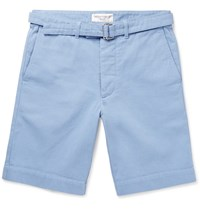 Officine Generale Julian Cotton Twill Shorts Blue