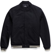 A.P.C. Cotton And Wool Blend Varsity Jacket Navy