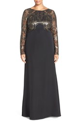 Tadashi Shoji Sequin Embroidered Crepe Gown With Train Plus Size Gold Black