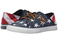 Sperry Seacoast Isle Stars Stripes Red White Blue Women's Lace Up Casual Shoes Multi