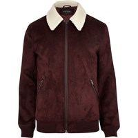 River Island Mens Dark Red Faux Suede Borg Collar Jacket