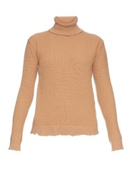 Valentino Roll Neck Wool And Cashmere Blend Sweater Nude
