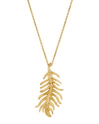 Mimi So Phoenix 18K Yellow Gold Diamond Feather Pendant Necklace Medium