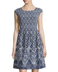 Max Studio Cap Sleeve Printed And Pleated Dress Ivory Dark Navy