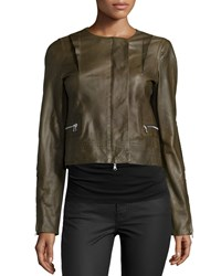 Kaufman Franco Long Sleeve Cropped Leather Jacket Cornichon