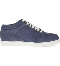 Jimmy Choo Miami Leather Metallic Glitter Trainers Navy