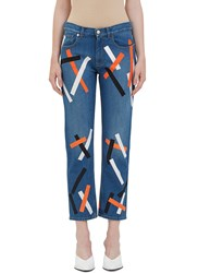 Christopher Kane Printed Straight Leg Jeans Blue