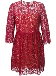 P.A.R.O.S.H. Three Quarter Sleeve Lace Dress Red