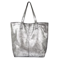 Mint Velvet Gunmetal Leather Shopper Grey