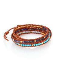 Chan Luu Turquoise Sodalite Amazonite And Leather Multi Row Beaded Wrap Bracelet Tan Multi