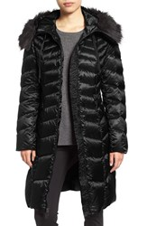 Tahari Women's Emma Quilted Down And Feather Coat With Faux Fur Trim