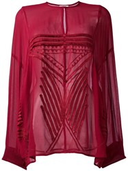 Iro Pleated Detailing Sheer Blouse Red
