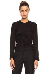 Isabel Marant Heather Ruched Silk Georgette Top In Black