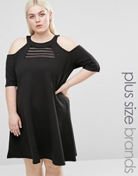 Pink Clove Cold Shoulder Swing Dress With Mesh Insert Black