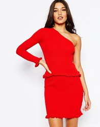 Asos Co Ord One Shoulder Jumper In Rib With Ruffle Hem Red