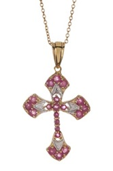Olivia Leone 14K Gold Plated Sterling Silver Ruby Cross Pendant Necklace Red
