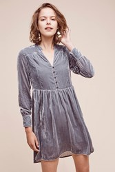 Anthropologie Velvet Shirtdress Light Grey