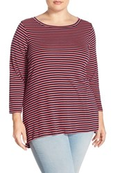 Plus Size Women's Sejour Stripe Ballet Neck Tee Navy Coral Stripe