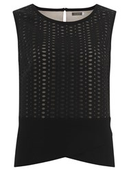 Mint Velvet Mesh Shell Top Black