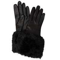 Ted Baker Emree Faux Fur Cuff Leather Gloves Black
