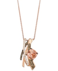 Le Vian Chocolatier Morganite 1 3 4 Ct. T.W. And Diamond 5 8 Ct. T.W. Pendant Necklace In 14K Rose Gold Pink