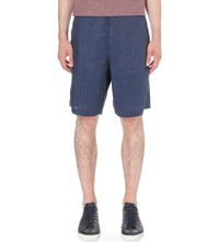 Oliver Spencer Marl Linen Shorts Opie Navy