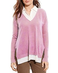 Ralph Lauren Layered Look Cashmere Sweater Soft Mulberry