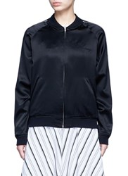 Opening Ceremony Reversible Floral Embroidery Silk Varsity Jacket Black