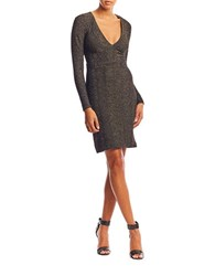 Nicole Miller Knit Wide V Neck Dress Black