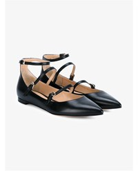 Gianvito Rossi Flat Leather Pumps Black Sand