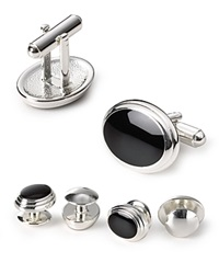 The Men's Store At Bloomingdale's Black Enamel Stud And Cufflink Set
