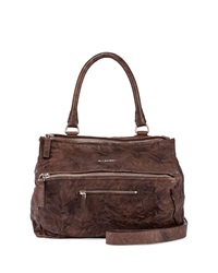 Pandora Medium Leather Satchel Bag Dark Brown Givenchy