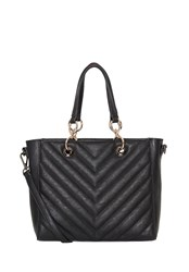 Hallhuber Top Handle Bag With Quilt Patterning Black